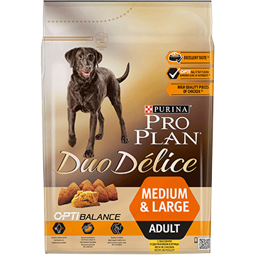 ​PURINA® PRO PLAN® Duo Delice Adult Medium/Large med OPTIBALANCE™ Rig på kylling