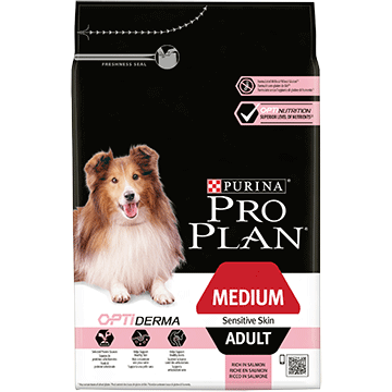 PURINA® PRO PLAN® Medium Adult Sensitive Skin med OPTIDERMA® Rik på laks