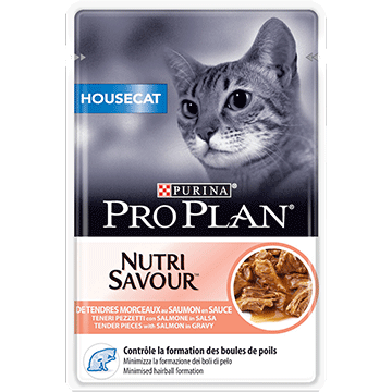 PURINA® PRO PLAN® HOUSECAT NUTRISAVOUR tender pieces with salmon in gravy